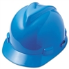 MSA V-Gard 4 Point Ratchet Suspension Hard Hat Fas-Trac Suspension, Blue - Case of 10