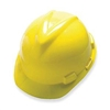 MSA V-Gard Hard Hat, Front Brim, 4 Point Fast-Trac Ratchet Suspension Hard Hat, Yellow - Case of 10